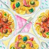 Nahtloses Muster des Aquarells mit Teigwaren, Servietten und Geschirr Stockfoto