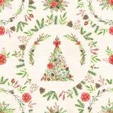 Nahtloses Muster des Aquarells mit Weihnachtsbaum und Kreisbaut. vektor abbildung