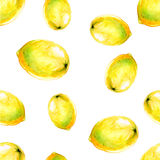Nahtloses Muster des Aquarells mit Zitronen Stockfotos