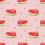 Nahtloses Muster des Aquarells von roten saftigen Wassermelone slicies lizenzfreie abbildung