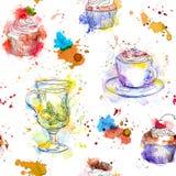 Nahtloses Muster des Aquarelltees - Kaffeetasse der kleinen Kuchen, des Tees und Stock Abbildung