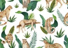 Nahtloses Muster des Aquarellvektors von tropischen Blättern und von Leoparden im Dschungel lokalisiert auf weißem Hintergrund vektor abbildung