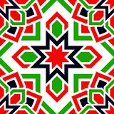 Nahtloses Muster des arabischen Vektors UAE wiederholten Hintergrund Traditionelle Emiratflaggenfarben Rot, grün, weiß, Schwarzes stock abbildung