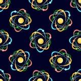 Nahtloses Muster des Atoms auf dunkelblauem Hintergrund Stockbild