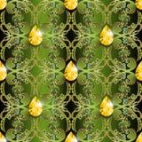 Nahtloses Muster des aufwändigen Vektors des Schmucks barocken Dekorativer Luxusdamast-Blumenhintergrund Belaubter Wiederholungsg vektor abbildung