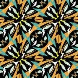 Nahtloses Muster des aztekischen Vektors der Art Stammes- ethnischen geometrischen Dekorativer Zickzackentwurf auf schwarzem Hint lizenzfreie abbildung