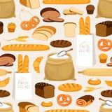 Nahtloses Muster des Bäckereibrotes Karikatur paniert Produkte und Gebäck, Ohren und Mehlbäckereivektorhintergrund lizenzfreie abbildung