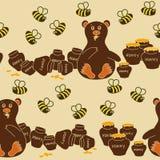 Nahtloses Muster des Bären und der Bienen Stockfoto