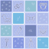 Nahtloses Muster des Babys mit netten neugeborenen Elementen Lizenzfreie Stockbilder