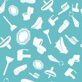 Nahtloses Muster des Badezimmers in der blauen Farbe Lizenzfreie Stockfotografie