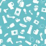 Nahtloses Muster des Badezimmers in der blauen Farbe Stockbild