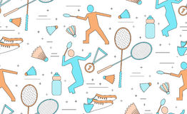 Nahtloses Muster des Badminton lizenzfreie abbildung