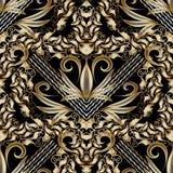 Nahtloses Muster des barocken Vektors Hand gezeichneter antiker Golddamast Stockfoto
