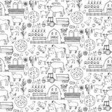 Nahtloses Muster des Bauernhofgekritzels Stockbilder
