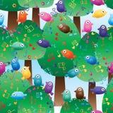 Nahtloses Muster des Baummusikanmerkungs-Vogels stock abbildung