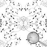 Nahtloses Muster des Baums mit Lupe vektor abbildung