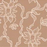 Nahtloses Muster des beige Spitzevektor-Gewebes Lizenzfreies Stockfoto