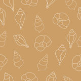 Nahtloses Muster des beige Vektors mit Muscheln Stockfotos