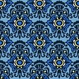 Nahtloses Muster des blauen Damastes Lizenzfreie Stockfotos