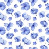 Nahtloses Muster des blauen Hortensieaquarells Stockfotografie