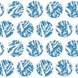 Nahtloses Muster des blauen strukturierten Kreisvektors Handdrawn Schmutzwinterschneebälle auf weißem Hintergrund Lizenzfreie Stockfotografie