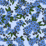 Nahtloses Muster des blauen Vergissmeinnichts Stockfoto