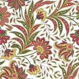 Nahtloses Muster des Blumenblattes und der Blume Abstrakte Niederlassung mit Blättern Lizenzfreie Stockfotografie