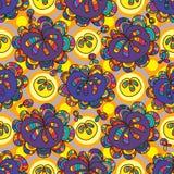 Nahtloses Muster des Blumentropfensymmetrie-Kreises Stockfotografie