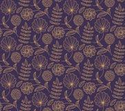 Nahtloses Muster des Blumenvektors mit Blume, Blatt, Niederlassung Natürlicher endloser Hintergrund Lizenzfreies Stockbild
