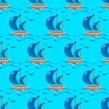 Nahtloses Muster des Bootes karikatur Vektorauf lagerabbildung vektor abbildung