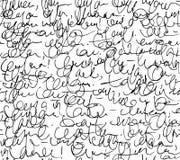 Nahtloses Muster des Buchstaben Schwarzweiss-Skripthintergrund lizenzfreie abbildung