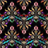Nahtloses Muster des bunten Damastes Schwarzer mit Blumenhintergrund des Vektors Lizenzfreies Stockbild
