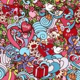 Nahtloses Muster des bunten Gekritzelzusammenfassung dekorativen Liebes-Vektors Lizenzfreies Stockfoto