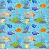 Nahtloses Muster des bunten Seefisches lizenzfreie abbildung