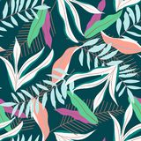 Nahtloses Muster des bunten Sommers mit tropischen Blättern auf dunklem Hintergrund ENV 10 Dschungeldruck Ausf?hrliche vektorzeic vektor abbildung