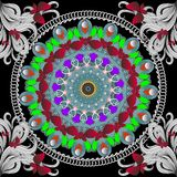 Nahtloses Muster des bunten Vektors der Schmetterlinge und der Blumen Runde ethnische Artmandala Heller dekorativer Wiederholungs stock abbildung
