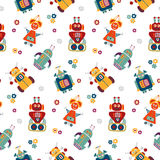 Nahtloses Muster des bunten Vektors mit Retro- Robotern stock abbildung