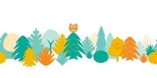 Nahtloses Muster des bunten Waldes mit Bäumen und Eule - flaches De stock abbildung