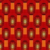 Nahtloses Muster des Chinesischen Neujahrsfests mit chinesischen Taschenlampen Lizenzfreies Stockbild