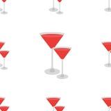 Nahtloses Muster des Cocktailrotes auf weißer Hintergrundisolierung Stockfotos