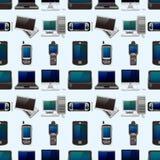 Nahtloses Muster des Computer- und Telefonsets Stockfoto