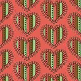 Nahtloses Muster des dekorativen Streifenherzens auf einem rosa Hintergrund Stockbild