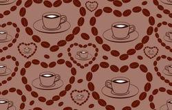Nahtloses Muster des dekorativen Vektors mit den Kaffeetassen und Herzen gemacht von den Kaffeebohnen Lizenzfreies Stockfoto