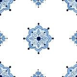 Nahtloses Muster des Delfter Blau-Art-Aquarells Lizenzfreies Stockbild