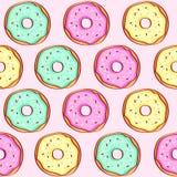 Nahtloses Muster des Donuts Rosa Donut und blauer tadelloser Donut mit unterschiedlichem Belag auf rosa Hintergrund Stock Abbildung