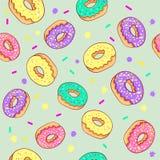 Nahtloses Muster des Donuts Rosa Donut und blauer tadelloser Donut mit unterschiedlichem Belag auf rosa Hintergrund Stockfotografie