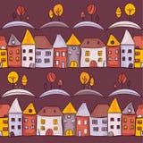 Nahtloses Muster des Dorfs Stockbilder