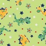 Nahtloses Muster des Drachen und der Sterne Stockbild