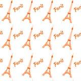 Nahtloses Muster des Eiffelturms Auch im corel abgehobenen Betrag Hintergrund Stock Abbildung