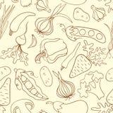 Nahtloses Muster des einfachen Gekritzels mit Gemüse Lizenzfreies Stockbild